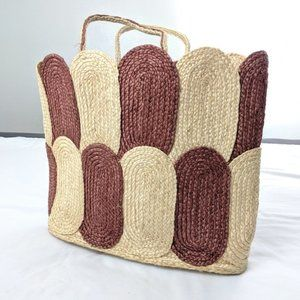 Vintage Woven Wicker Large Tote Bag Oval Shapes